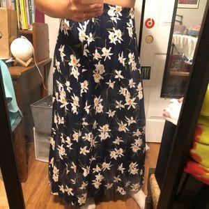 Flowery blue maxi skirt